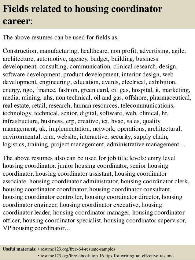 Top 8 housing coordinator resume samples