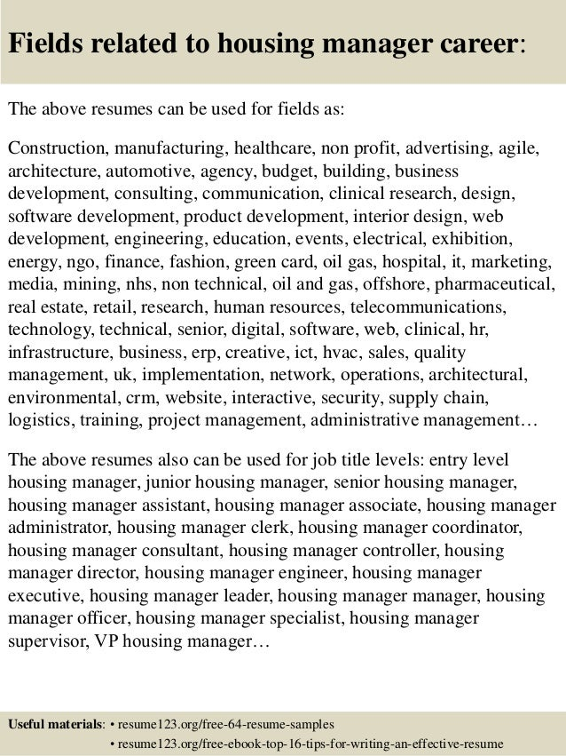 top 8 housing manager resume samples