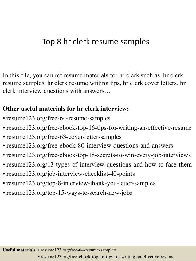 Top 8 hr clerk resume samples In this file, you can ref resume materials  for ...