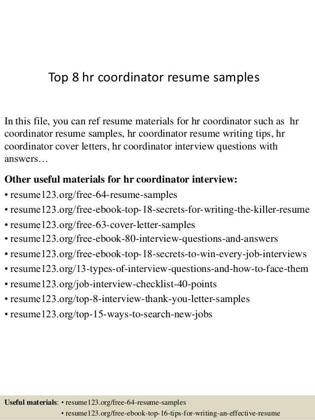 resume for hr coordinator