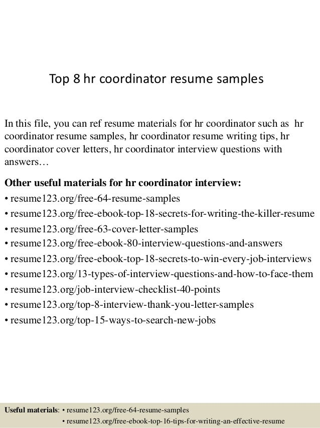 top 8 hr coordinator resume samples in this file you can ref resume materials for