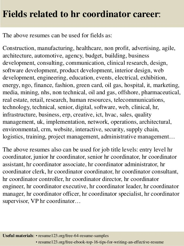 ... 16. Fields Related To Hr Coordinator ...  Hr Coordinator Resume