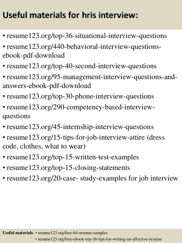 Top 8 hris resume samples