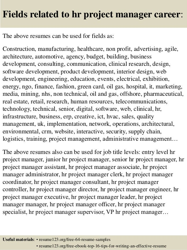 ... 16. Fields Related To Hr Project Manager Career: The Above Resumes ...  Project Manager Resume Sample