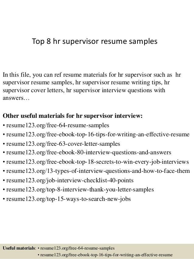 hr supervisor resume