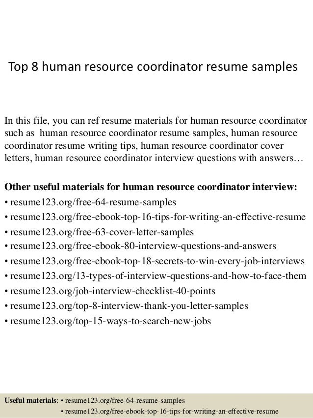 Top 8 Human Resource Coordinator Resume Samples In This File You Can Ref Materials