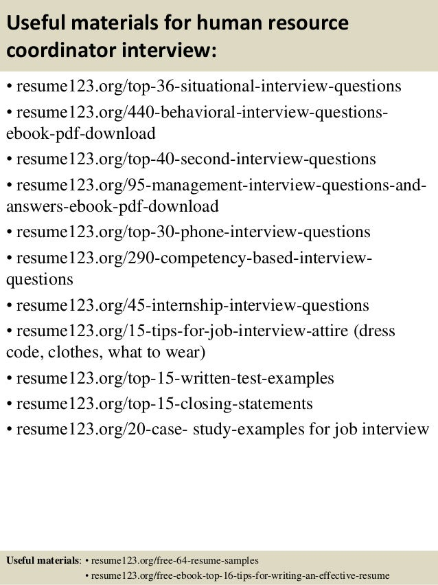 Human Resources Coordinator Interview Questions  Resume Interview Questions