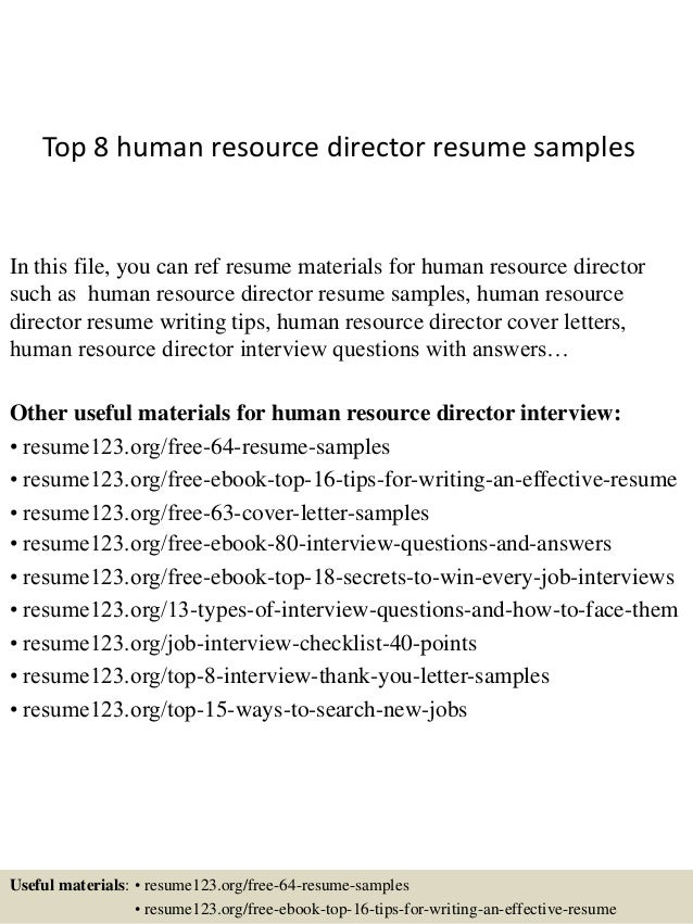 Top 8 Human Resource Director Resume Samples In This File, You Can Ref  Resume Materials ...