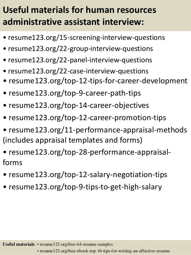 15 useful materials for human resources administrative - Human Resources Administration Sample Resume