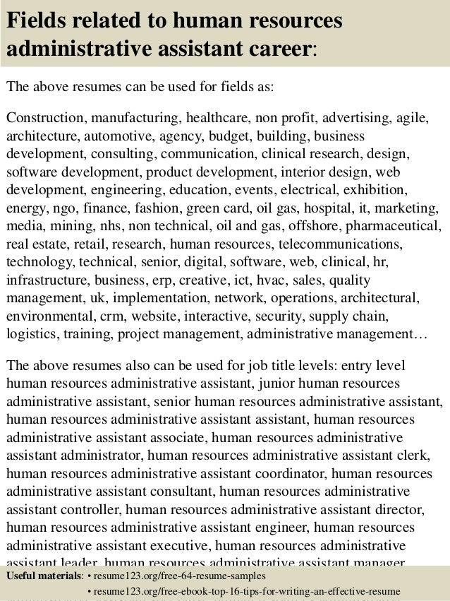 Top 8 human resources administrative assistant resume samples – Human Resources Assistant Resume Samples