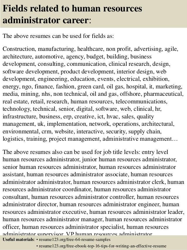 top 8 human resources administrator resume samples