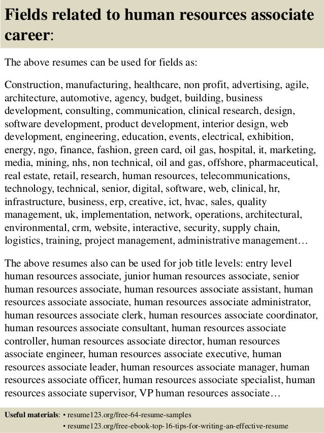 ... 16. Fields Related To Human Resources Associate Career: The Above  Resumes ...