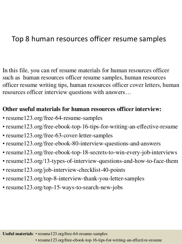 top 8 human resources officer resume samples