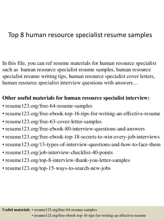 Wonderful Top 8 Human Resource Specialist Resume Samples In This File, You Can Ref  Resume Materials ... To Hr Specialist Resume