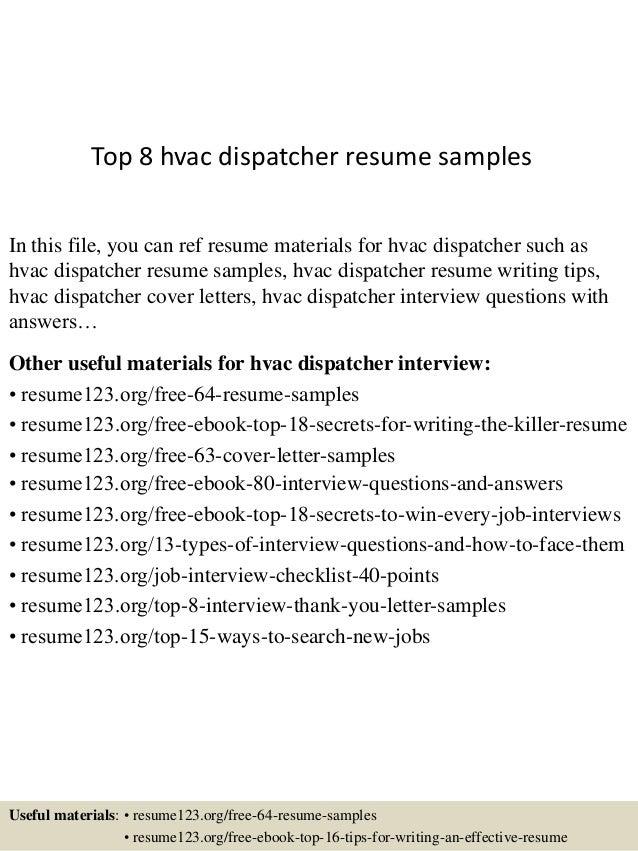 top 8 hvac dispatcher resume samples