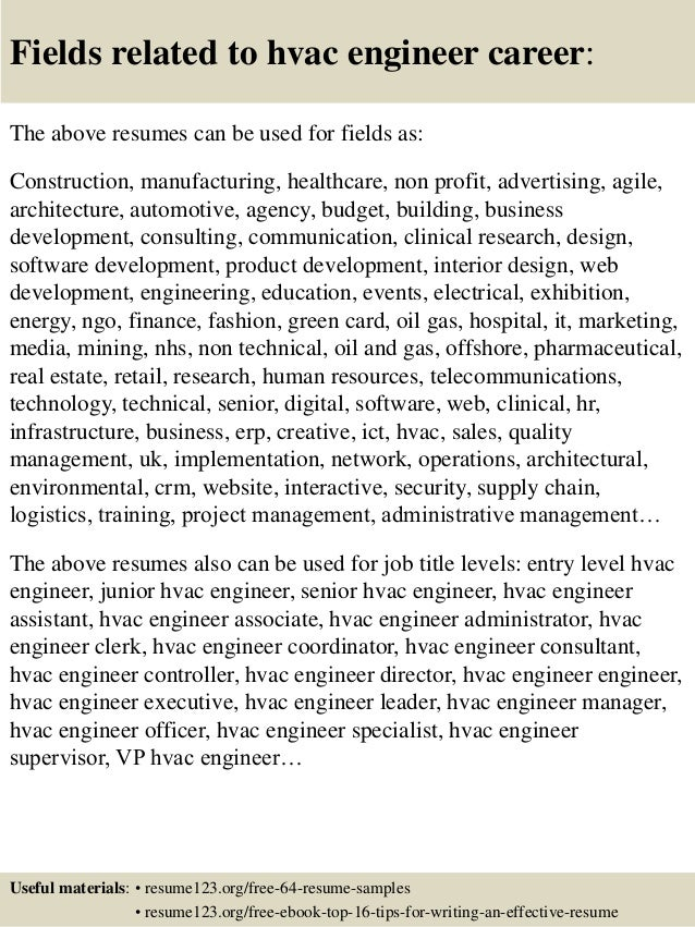 16 fields related to hvac engineer hvac engineer sample resume