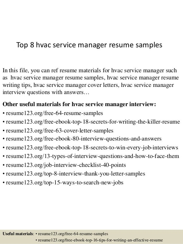 Top 8 Hvac Service Manager Resume Samples In This File, You Can Ref Resume  Materials ...  Sample Hvac Resume