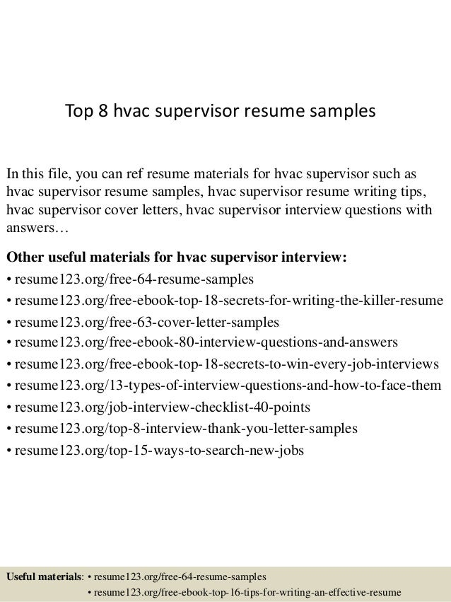 Top 8 Hvac Supervisor Resume Samples In This File, You Can Ref Resume  Materials For ...  Sample Hvac Resume
