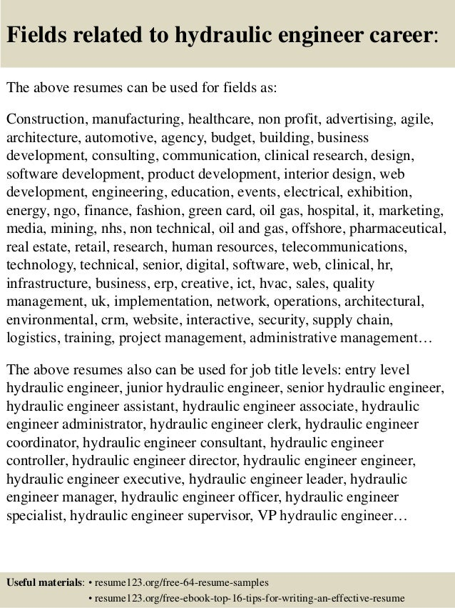16 fields related to hydraulic engineer - Hydraulic Design Engineer Sample Resume