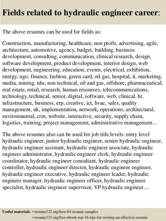 16 fields related to hydraulic - Hydraulic Mechanic Sample Resume