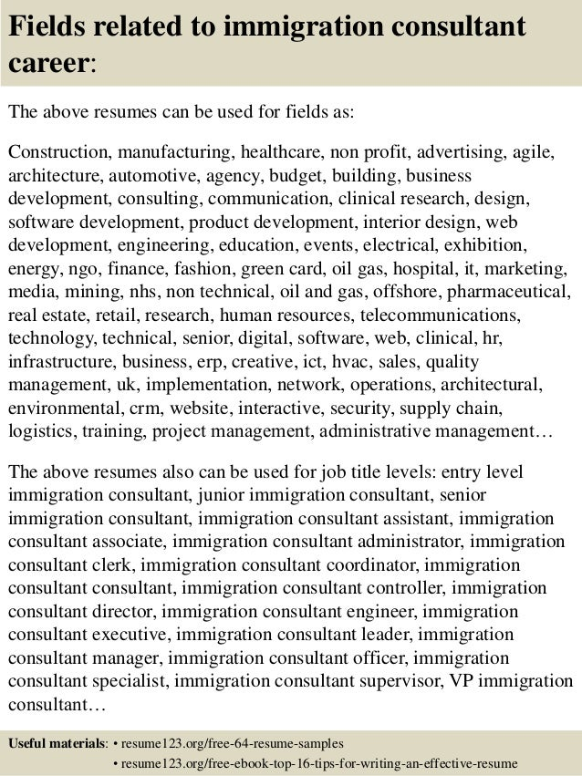 Top 8 immigration consultant resume samples 16 fields related to immigration consultant yelopaper Images