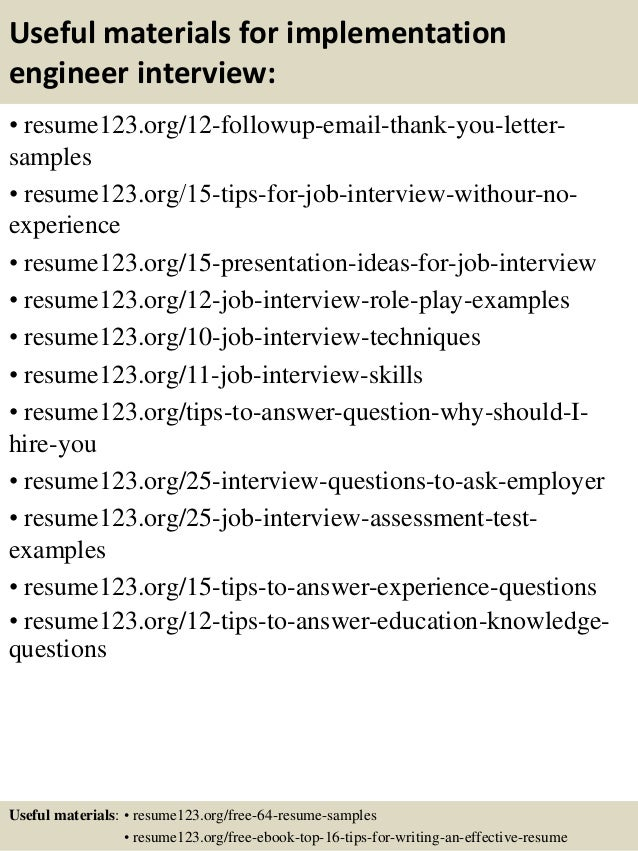 14 useful materials for implementation engineer - Implementation Engineer Sample Resume