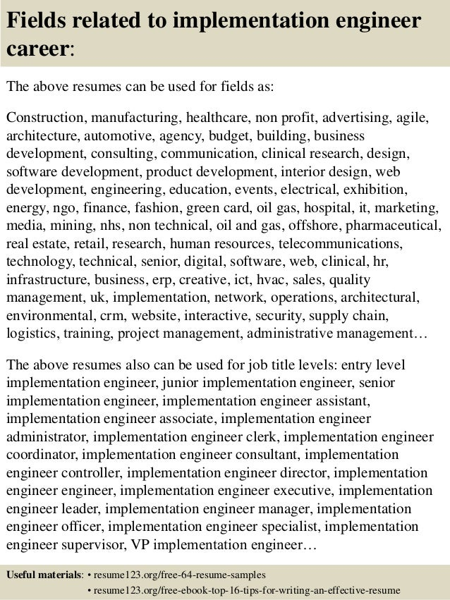 16 fields related to implementation engineer - Implementation Engineer Sample Resume