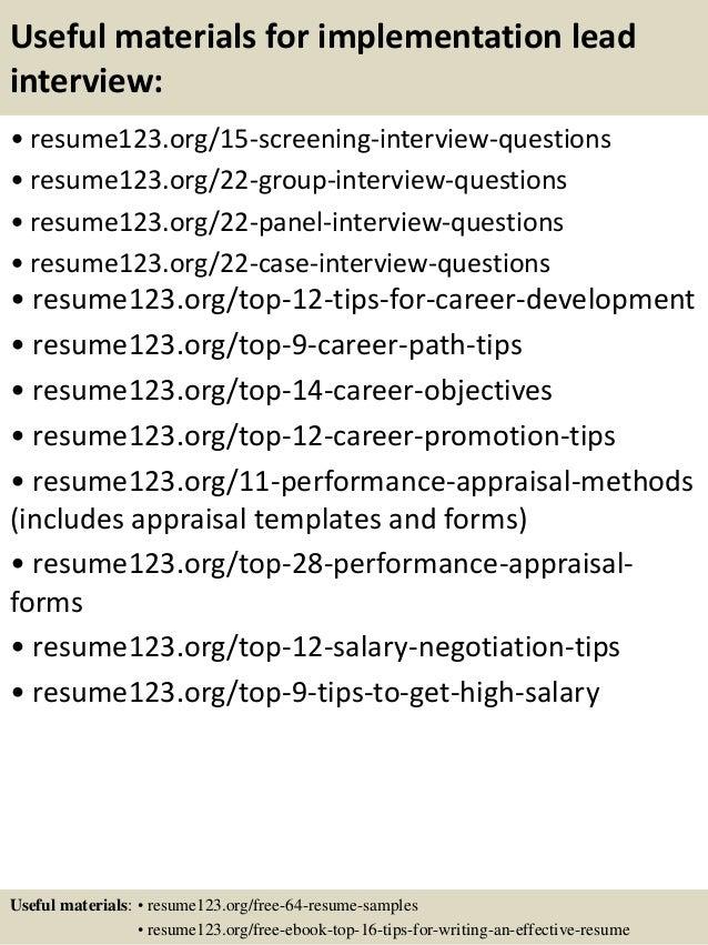 top 8 implementation lead resume samples