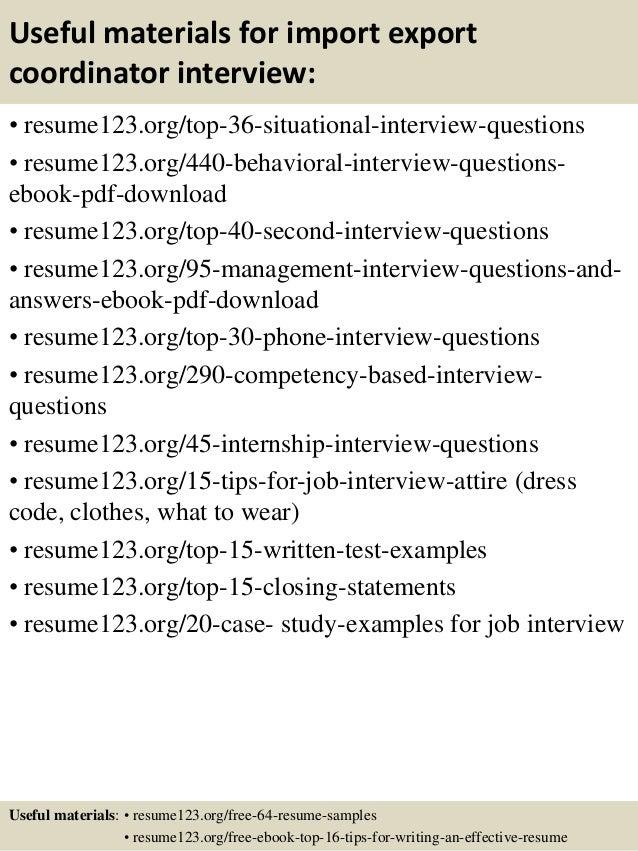 Top 8 import export coordinator resume samples