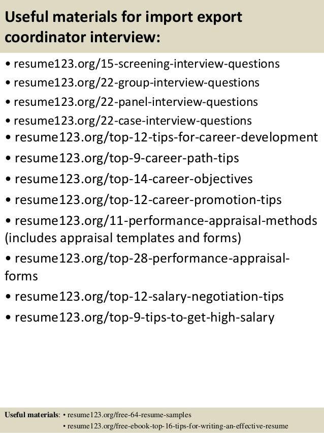 Top 8 import export coordinator resume samples – Import Coordinator