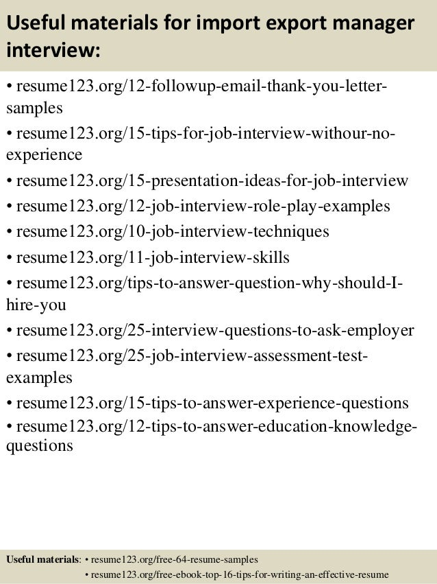top 8 import export manager resume samples