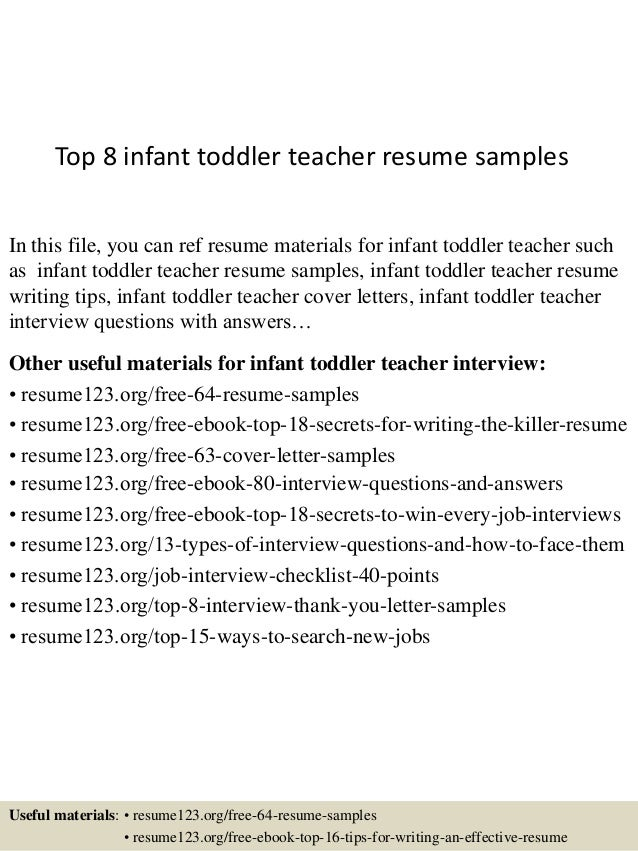 Attractive Top 8 Infant Toddler Teacher Resume Samples In This File, You Can Ref Resume  Materials ... Regard To Toddler Teacher Resume