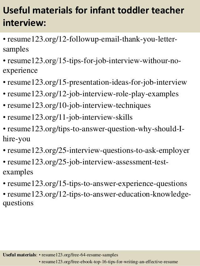 top 8 infant toddler teacher resume samples