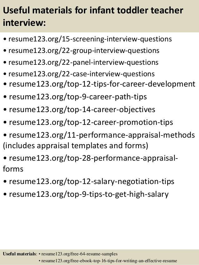 infant teacher resume