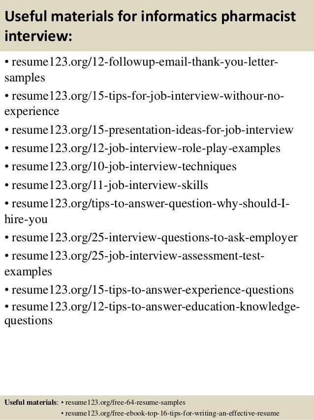 Top 8 Informatics Pharmacist Resume Samples