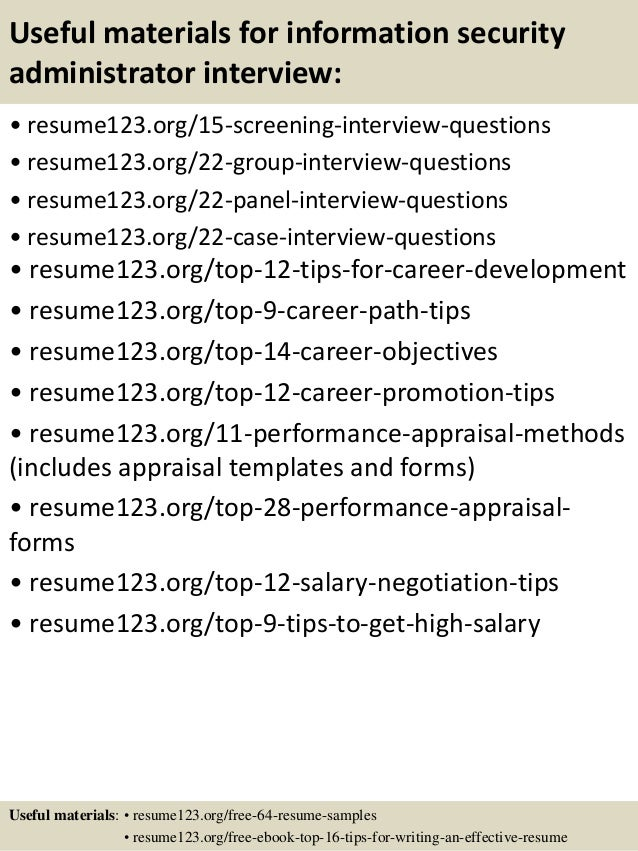 Sample Resume For Information Security Administrator