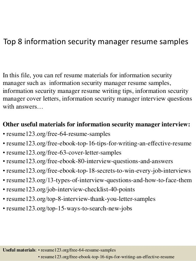 Top 8 Information Security Manager Resume Samples In This File, You Can Ref  Resume Materials ...  Sample Security Resume