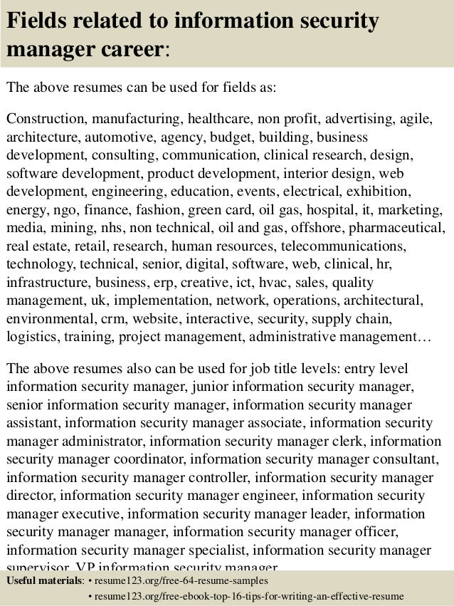 16 fields related to information security manager - Sample Security Manager Resume