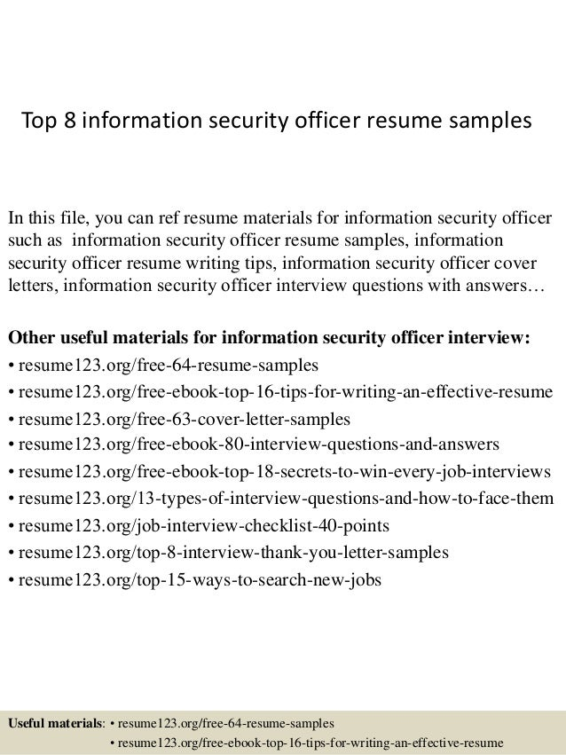 Top 8 Information Security Officer Resume Samples In This File, You Can Ref  Resume Materials ...