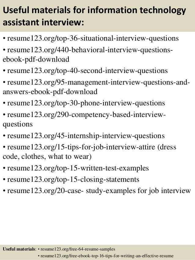 ... 12. Useful Materials For Information Technology ...  Resume Information Technology