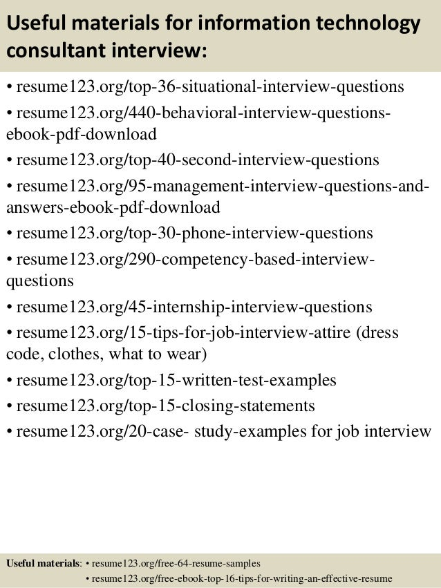 ... 12. Useful Materials For Information Technology ...  Information Technology Resumes