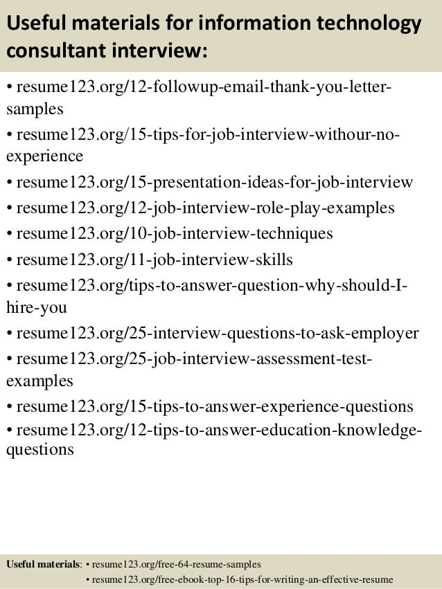Resume of technology consultant