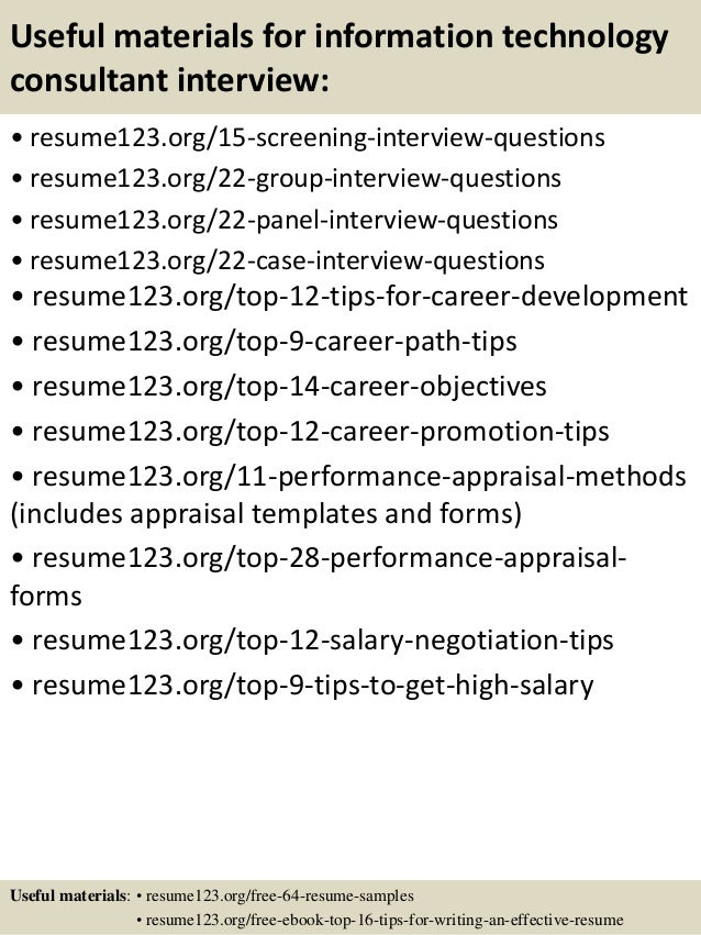 ... 15. Useful Materials For Information Technology ...  Resume Information Technology