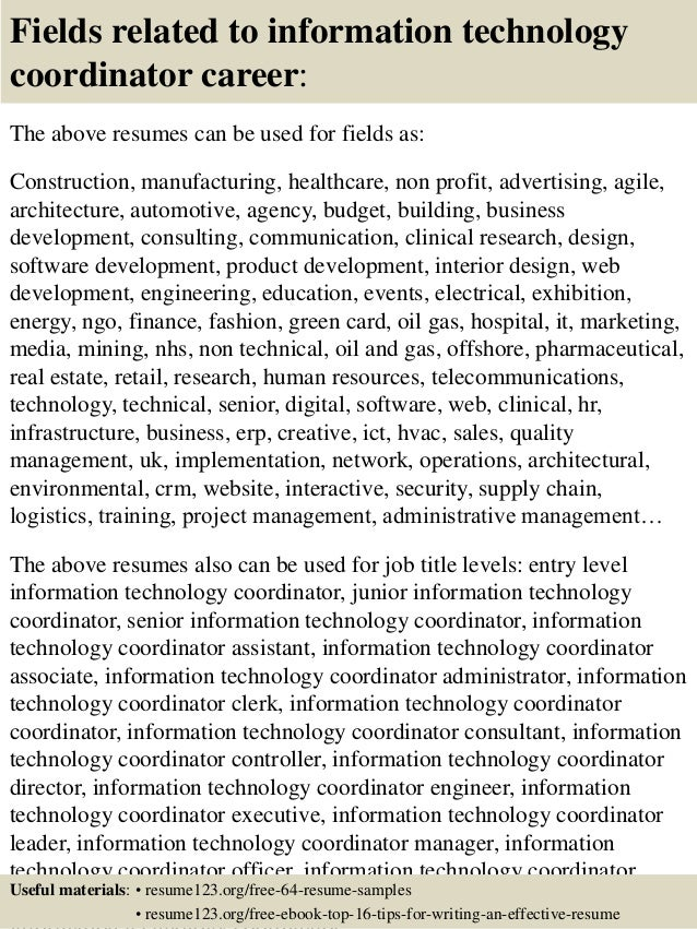 Top 8 Information Technology Coordinator Resume Samples