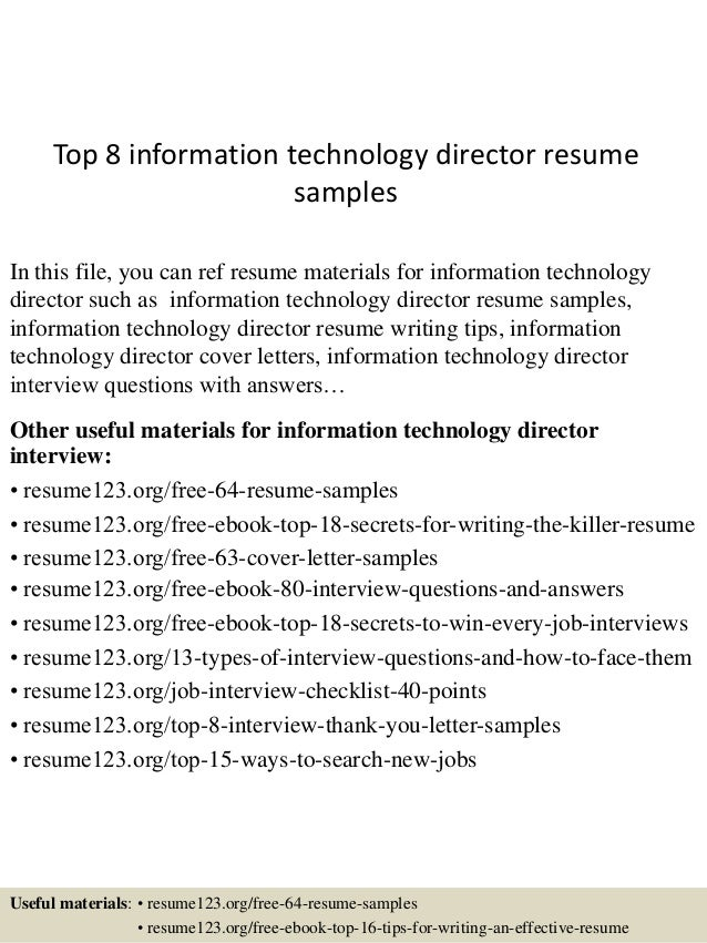 top 8 information technology director resume samples in this file you can ref resume materials - Information Technology Manager Resume