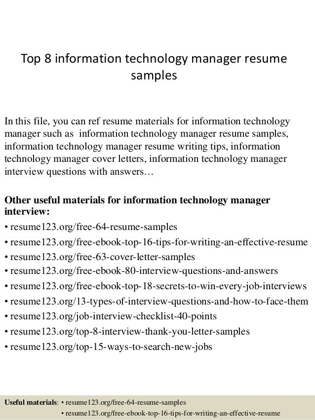 Top 8 Information Technology Manager Resume Samples In This File, You Can  Ref Resume Materials ...  Information Technology Resume Samples
