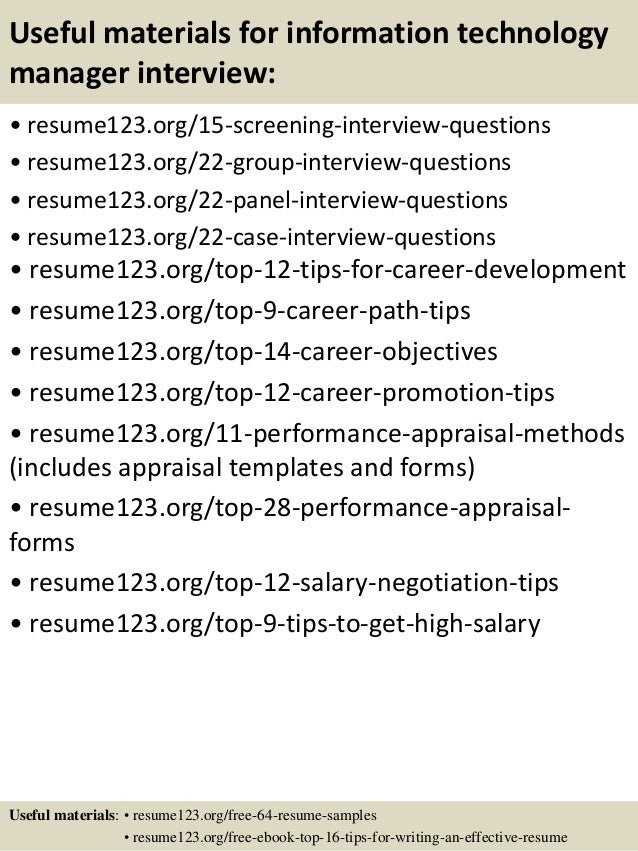 ... 15. Useful Materials For Information Technology ...  Information Technology Resume Examples