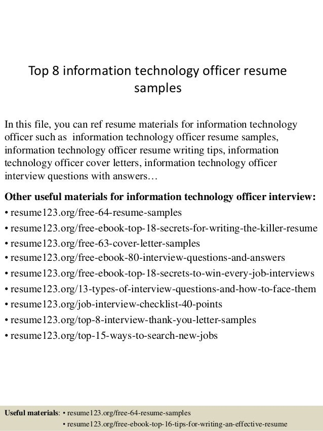 top 8 information technology officer resume samples in this file you can ref resume materials