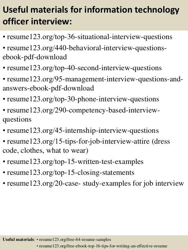 top 8 information technology officer resume samples