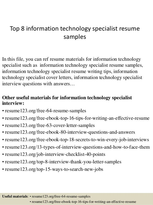 top 8 information technology specialist resume samples in this file you can ref resume materials - Information Technology Resume Template